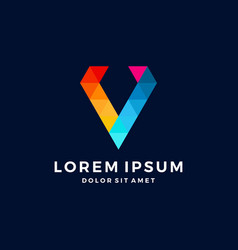 v letter diamond pixel triangle colorful logo vector image