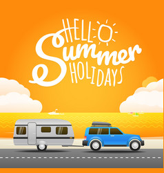 Vacation travelling concept flat design hello vector