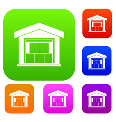 warehouse building set collection vector image