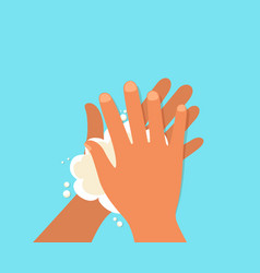 Wash hand hygiene hand with soap and water vector