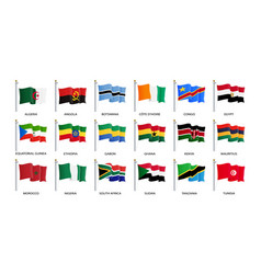 Waving flag icon flags africa countries sorted vector