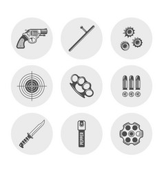 weapons and set round silhouette icons vector image