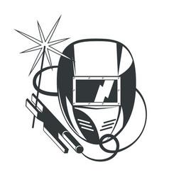 welder mask and welding machine vector image
