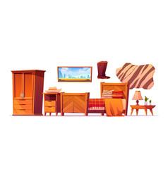 Wild west bedroom stuff set western rustic style vector
