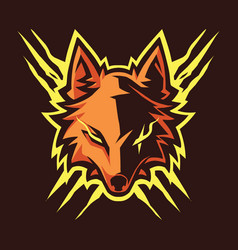 wolf head esport mascot logo vector image