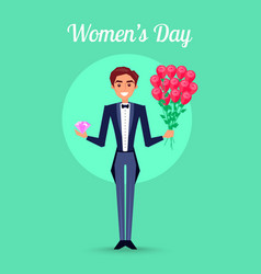 Womens day placard with man in tuxedo vector