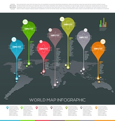 World map infographic with map pointers vector image