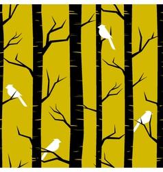 Birches and birds vector