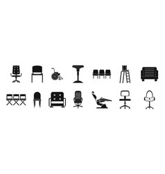 chair icon set simple style vector image vector image