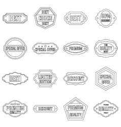 Golden labels icons set outline style vector image vector image