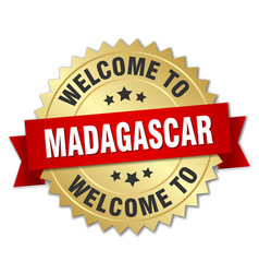 madagascar 3d gold badge with red ribbon vector image vector image