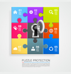 puzzle infographics with key vector image vector image