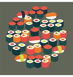 Restaurant Food Sushi Sashimi and Rolls Flat vector image