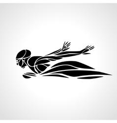 Swimmer Butterfly Stroke black silhouette vector image