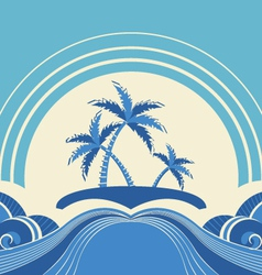Abstract seascape with tropical palmsNature image vector image