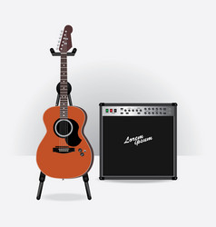 Acoustic electric guitar with guitar amplifier vector
