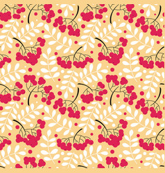 autumn rowanberry leaves and berries seamless vector image vector image