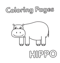 cartoon hippo coloring book vector image
