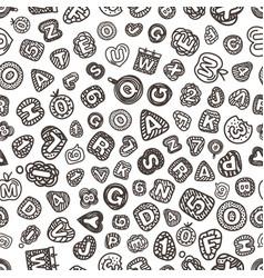 cartoon style alphabet seamless pattern comic vector image
