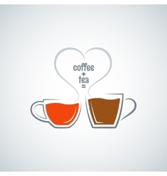 coffee and tea love concept background vector image vector image