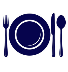 empty plate with knife fork and spoon icon vector image