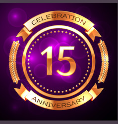 fifteen years anniversary celebration with golden vector image
