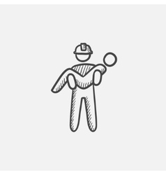 Fireman holding person on hands sketch icon vector image vector image