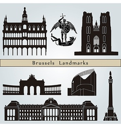 Brussels landmarks and monuments vector image vector image
