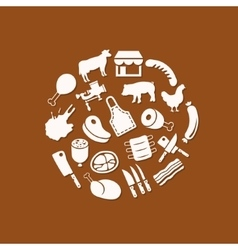 butcher icons in circle vector image vector image