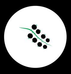 currant fruit simple black and green icon eps10 vector image vector image