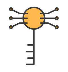 electronic circuit key line icon vector image