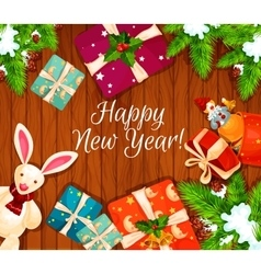 Holiday gifts on wooden background poster vector image