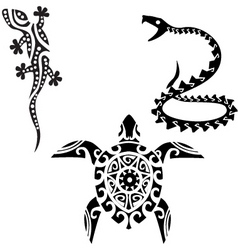 Reptile tribal art tattoo vector
