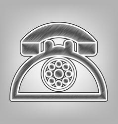 retro telephone sign pencil sketch vector image vector image