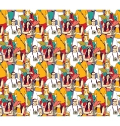Tourism crowd people color seamless pattern vector