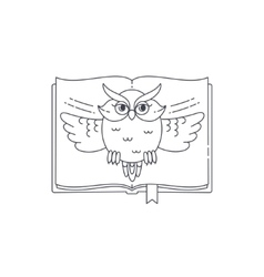 Wise owl opens the book linear vector image vector image
