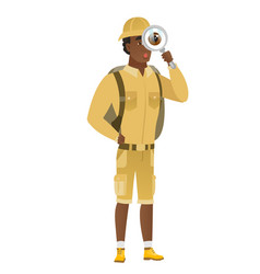 african-american traveler with magnifying glass vector image vector image