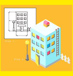 apartment building in linear and isometric style vector image