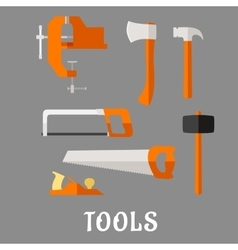 Carpenter and DIY tool flat icons vector image