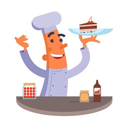 Cartoon chef holding plate with cake vector image