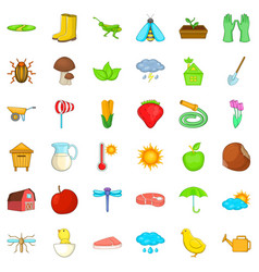 farming harvest icons set isometric style vector image vector image
