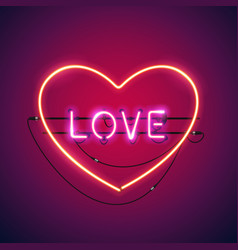pink love in the heart neon sign vector image vector image