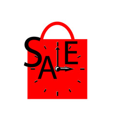 Sale inscription with clocks on shopping bag vector