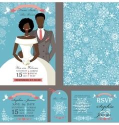 Wedding invitationBridegroomWinter set vector image
