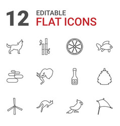 12 nature icons vector