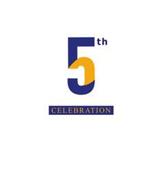 5 th anniversary celebration orange blue template vector