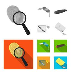 A fingerprint study a folding knife a cigar vector