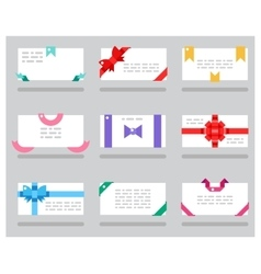 Abstract cards red gift bows ribbons set vector
