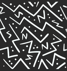 abstract white on black zig zag with dots pattern vector image