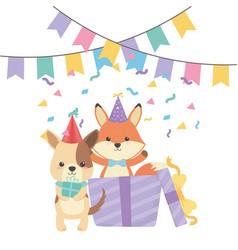 Animals cartoons with happy birthday icon design vector